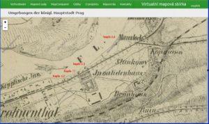 Lokace kaplí č. 2 až 4 dle Lichtensteinovy mapy Prahy a blízkého okolí (1850-62)