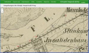 Lokace kaplí č. 2 až 4 dle Lichtensteinovy mapy Prahy a blízkého okolí (1850-62) - detail Invalidovna