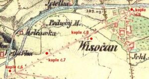 Znázornění kaple č. 6 až 9 - mapa 2 . rakouského voj. plánování (1850 -52)