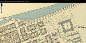 Mapový podklad_1938 - zastávka Karlín - přístav